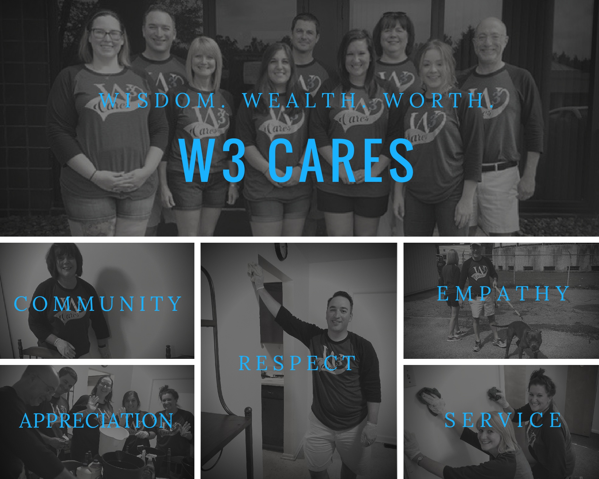 W3 CARES - clack and white collage